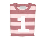 Vintage & Powder Pink Striped Number 1 T Shirt