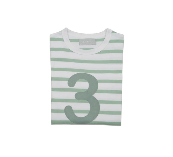 Seafoam & White Breton Striped Number 3 T Shirt