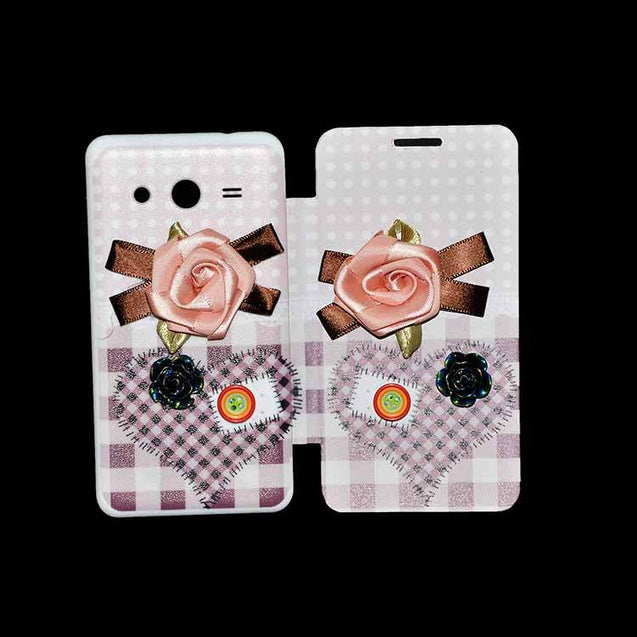 Samsung Galaxy Core 2 Flip Cover Fancy 3D Pink Flower with Button Fashion Flip Case