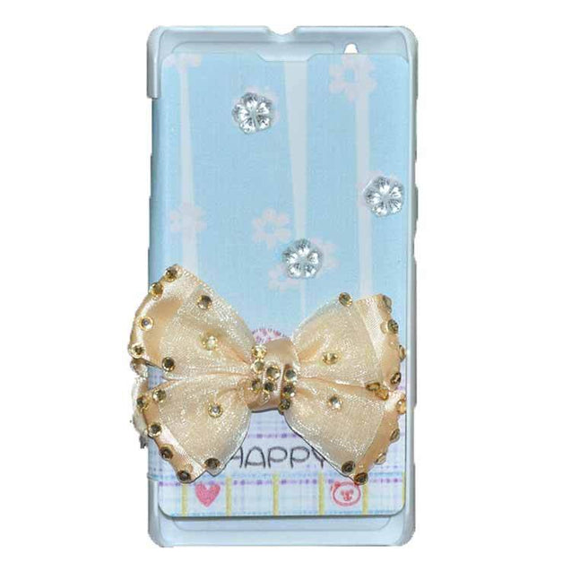 Sony Xperia L Flip Cover Fancy 3D Butterfly Fashion Happy Design Luxury Case Sky Blue