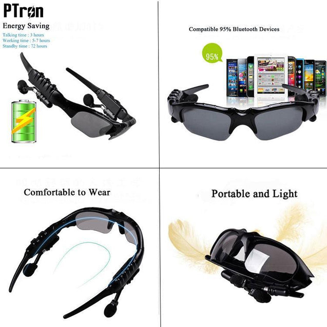 PTron Viki Bluetooth Headset Sunglasses For All Xiaomi Smartphones (Black)