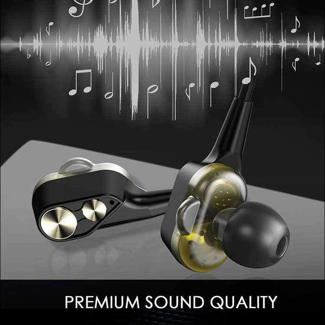 PTron Boom 4D Earphone Deep Bass Stereo Wired Headphone With Mic For Xiaomi Mi3 (Gold/Black)