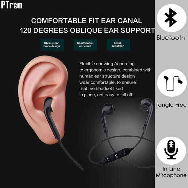 PTron Avento Bluetooth Headphones In-Ear Wireless Earphones With Mic For All Redmi Smartphones Black