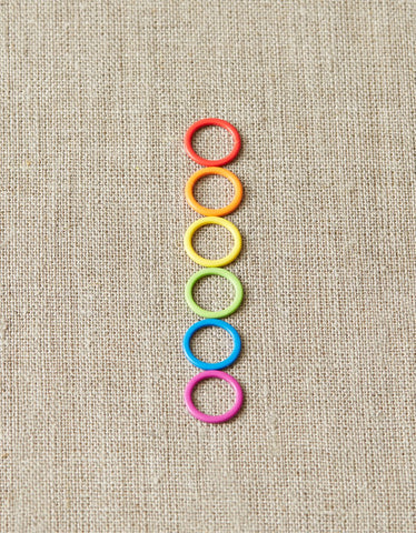 Colored Ring Stitch Markers  These ring stitch markers are brightly colored and easily seen when marking rounds, increases, decreases, and stitch patterns. Stitch markers accommodate up to US 13 / 9mm needle.  cocoknits.com