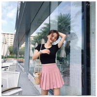 Classic High Waist Pleated Mini Skirt (Sizes Xs-2X) - Skirt