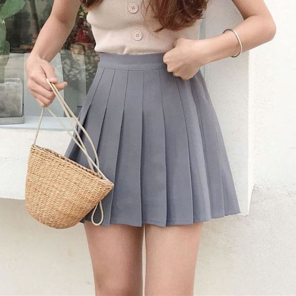 Classic High Waist Pleated Mini Skirt (Sizes Xs-2X) - Gray / L - Skirt