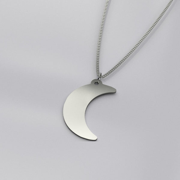 crescent moon solid sterling silver necklace - Sterling Silver - Necklace