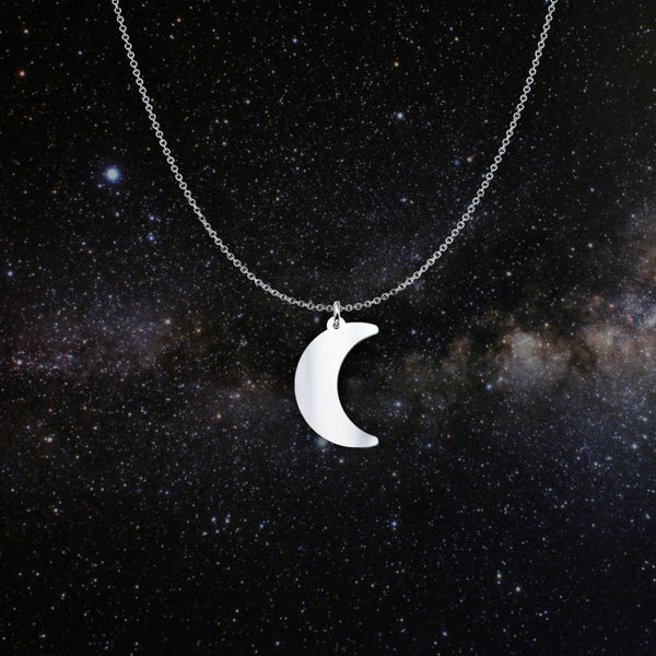 crescent moon solid sterling silver necklace - Necklace