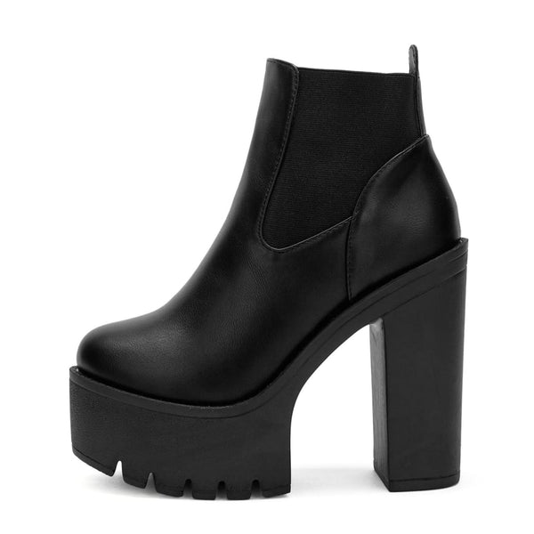 Elastic Panel Ultra Platform High Heel Ankle Boots - 5 - Shoes