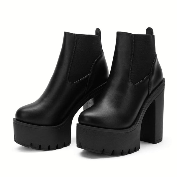 Elastic Panel Ultra Platform High Heel Ankle Boots - Shoes