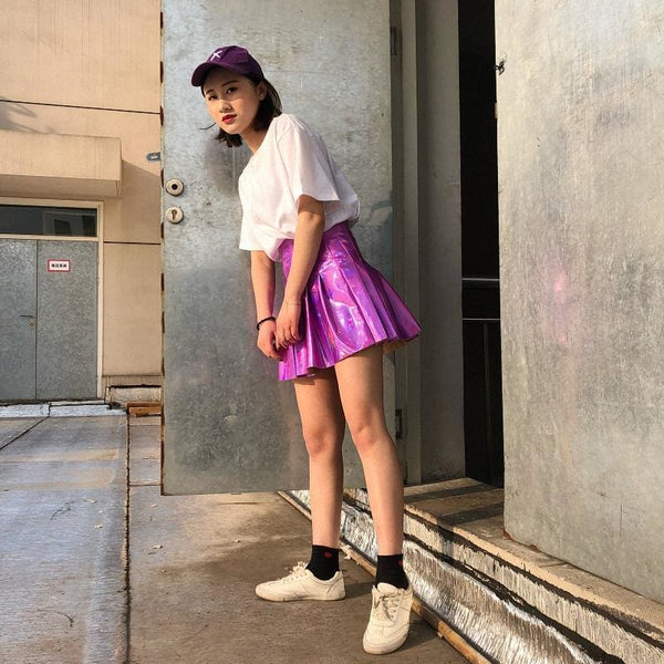 Holographic High Waist Pleated Mini Skirt - Skirt