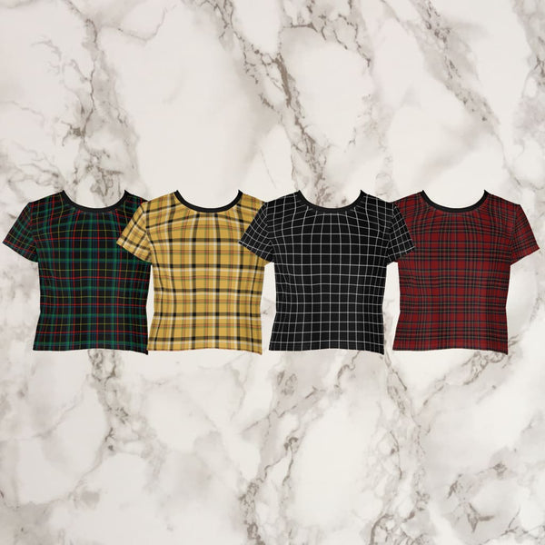 Plaid Tartan Crop Top Ringer Tee - Crop Top