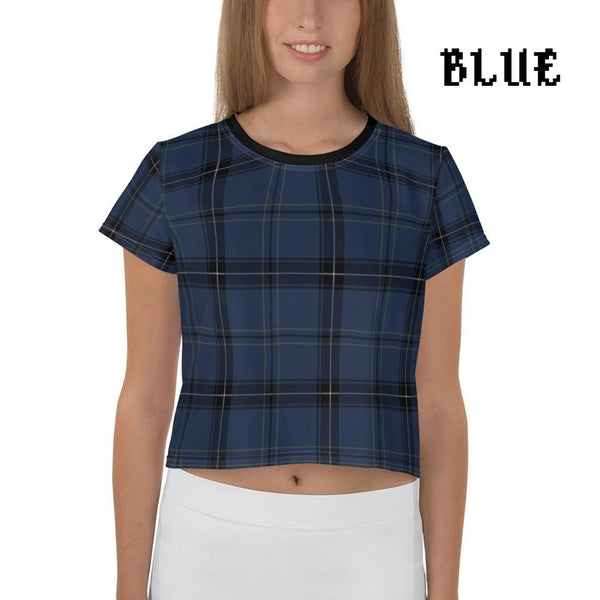 Plaid Tartan Crop Top Ringer Tee - Blue / Xs - Crop Top
