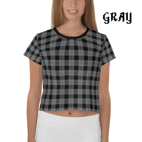 Plaid Tartan Crop Top Ringer Tee - Gray / Xs - Crop Top