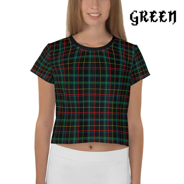 Plaid Tartan Crop Top Ringer Tee - Green / Xs - Crop Top