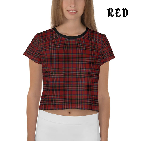 Plaid Tartan Crop Top Ringer Tee - Red / Xs - Crop Top