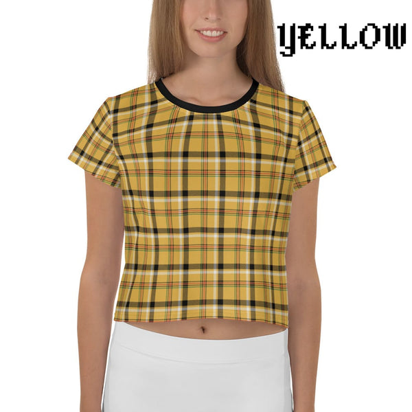Plaid Tartan Crop Top Ringer Tee - Yellow / Xs - Crop Top