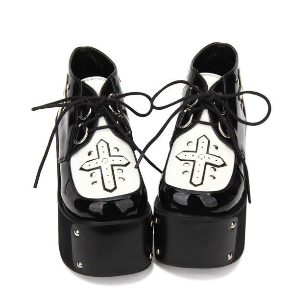 Studded Gothic Cross Lace-Up Ultra Platform Creepers - Black / 4.5 - Creepers