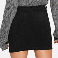 Corduroy Pocketed Fitted Mini Skirt - Skirt