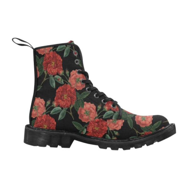 Red Roses Mens Lace-Up Combat Boots - Black / 7 - Boots