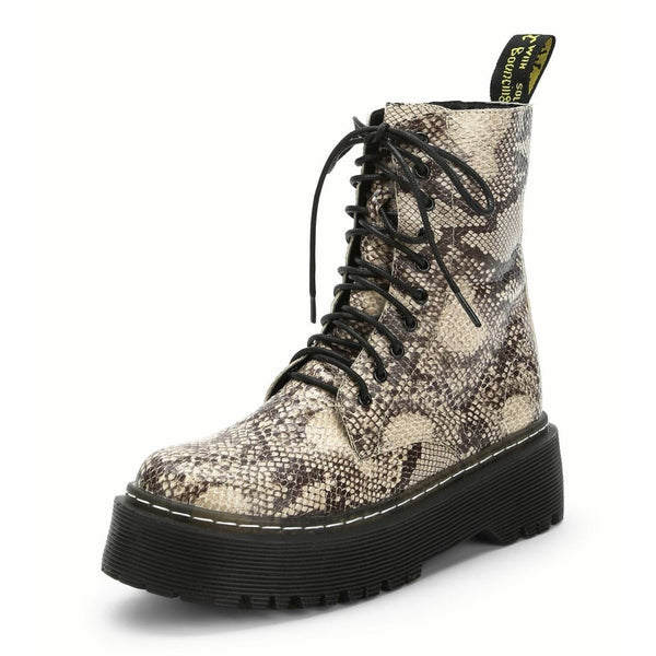 snake print lace-up combat boots - Tan / 5 - Boots