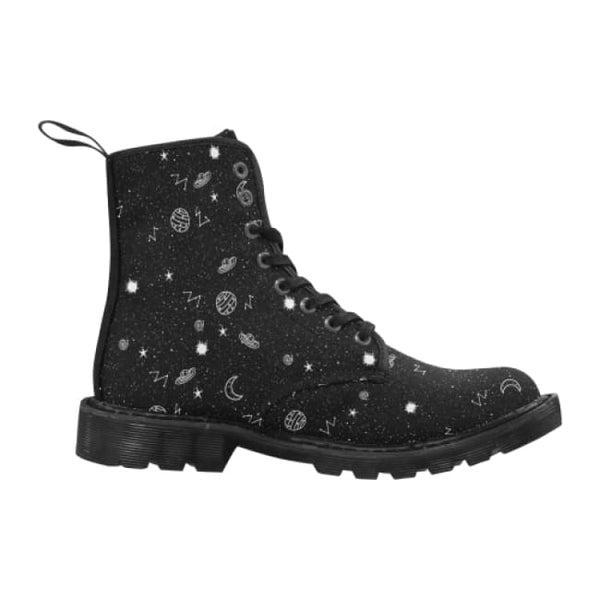Space Doodles Mens Lace-Up Combat Boots - Black / Us7 - Boots