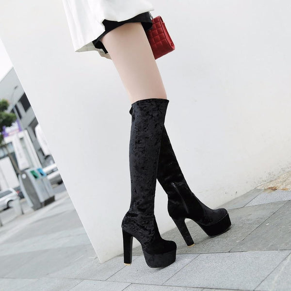 Velvet Knee-High Ultra Platform High Heel Boots - Boots