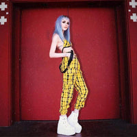 Yellow Plaid High Waist Suspender Pants - Pants
