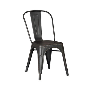 Distressed Black Metal Dining Chair 18-inch Seat Height with Back, Set of 2