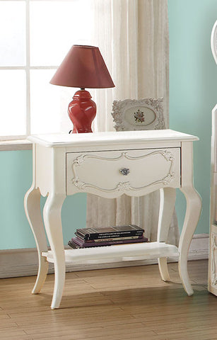 Nightstand , Pearl White - Pine wood Pearl White
