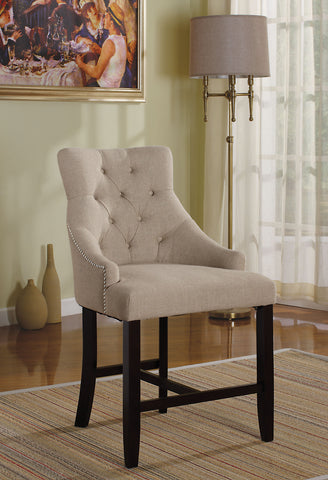 Counter Height Chair (Set-2), Cream Fabric & Walnut - Fabric, Wood Cream Fabric & Walnut