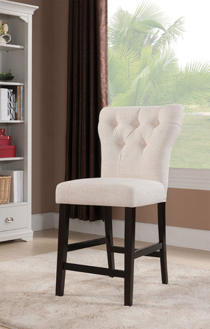 Counter Height Chair (Set-2), Beige Linen & Walnut - Linen Fabric, Wood, Foam Beige Linen & Walnut