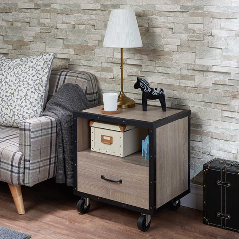 Nightstand, Rustic Natural & Black - Particle Board, MDF Rustic Natural & Black