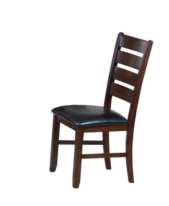 Side Chair (Set-2), Black PU & Cherry - Rubber Wood, PU, USFR Foa Black PU & Cherry