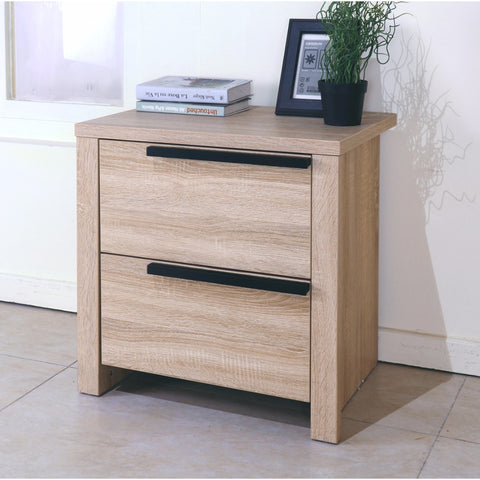 Elegant Brown Finish Nightstand With 2 Drawers On Metal Glides