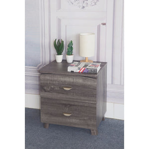 Contemporary Style Grey Finish Nightstand With 2 Drawers On Metal Glides