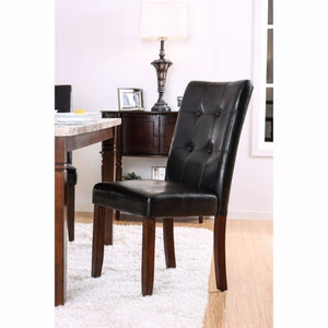 Transitional Side Chair, Brown Cherry & Black, Set Of 2