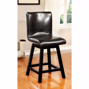 Swivel Counter Height Chair, Black Finish, Set Of 2