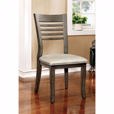 Transitional Side Chair, Gray Finish, Set Of 2
