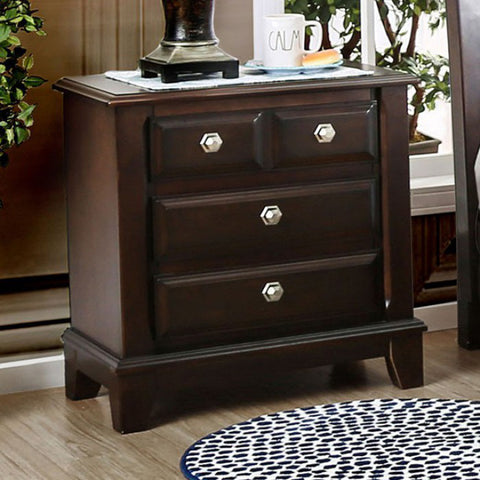 Contemporary Night Stand In Brown Cherry Finish