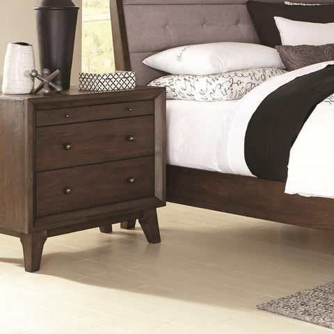 3 Drawer Night Stand With Top Felt-Lined Drawer, Brown