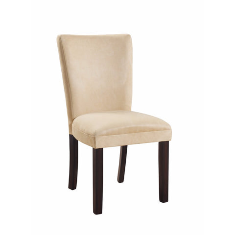 Modish Upholstered Side Dining Chair, Beige And Brown, Set of 2