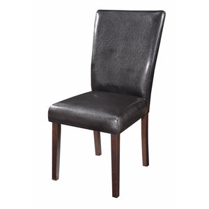 Authentically Designed Side Dining Chair, Black And Brown, Set of 2