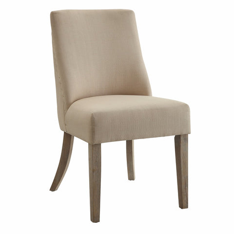 Chic Modish Dining Side Chair, Beige & Brown, Set of 2