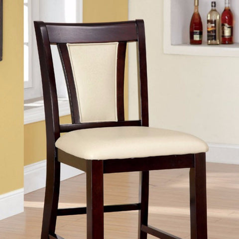 Wooden Counter Height Chair With Padded Seat and Back, Pack of 2, Brown & Ivory