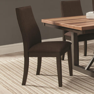Upholstered Wooden Dining Side Chair, Brown , Set of 2