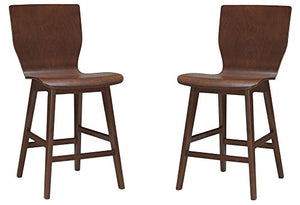 Baxton Studio 2-Piece Elsa Mid-Century Modern Scandinavian Style Bent Wood Dining Side Chair Set, Dark Walnut