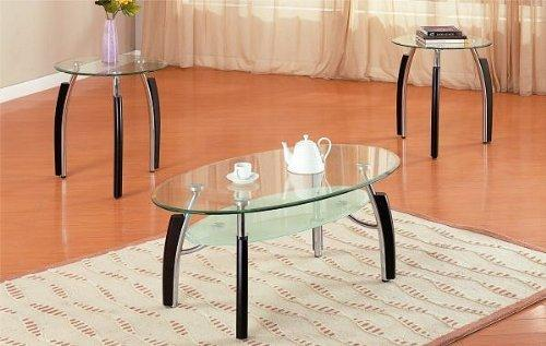 3Pc Modern Oval Metal And Glass Coffee & End Table Set