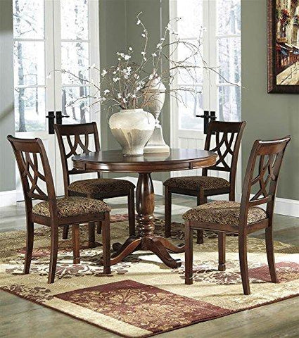 Round Dining Table In Medium Brown Finish