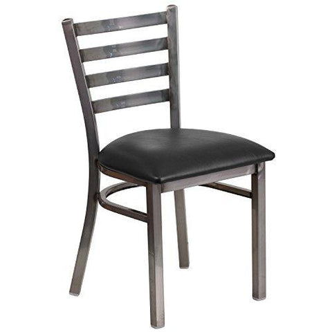 Flash Furniture Hercules Series Clear Coated Ladder Back Metal Restaurant Chair - Black Vinyl Seat